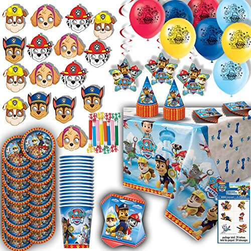 Paw Patrol Party for 16 - Plates, Cups, Napkins, Birthday Hats, Balloons, Masks, Loot Bags, Hanging Decorations, Tattoos, Table Cover, Party Blowouts