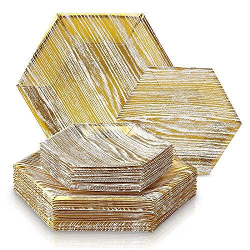Design Wedding Collection - ELEGANT DISPOSABLE 432 PC DINNERWARE SET | 216 Dinner Plates and 216 Side Plates  | Heavy Duty Disposable Paper Plates | Hexagon Design |  for Upscale Wedding and Dining (Wood Collection-Gold/White)