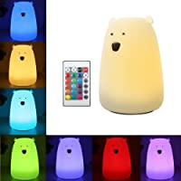Solmore Night Lights for Kids LED Bear Silicone Baby Toddler Bedside Lamps for Bedrooms Wireless Remote/ 16-Colors/Adjustable Brightness/USB Rechargeable/Children Best Gifts