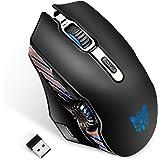 【ワイヤレスマウス】ONIKUMA 2.4GHzゲーミングマウス 有線マウス ダブルモードマウス 一台2役 光学式 6段階DPI 6色LEDライト 高精度ターゲティング エルゴノミック