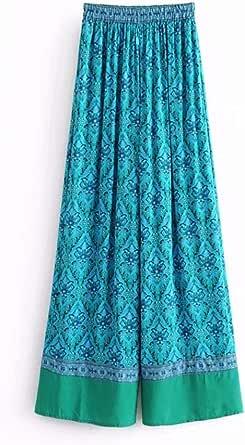 Women's Casual Pants High Waist Floral Pattern Loose Wide Leg Pants