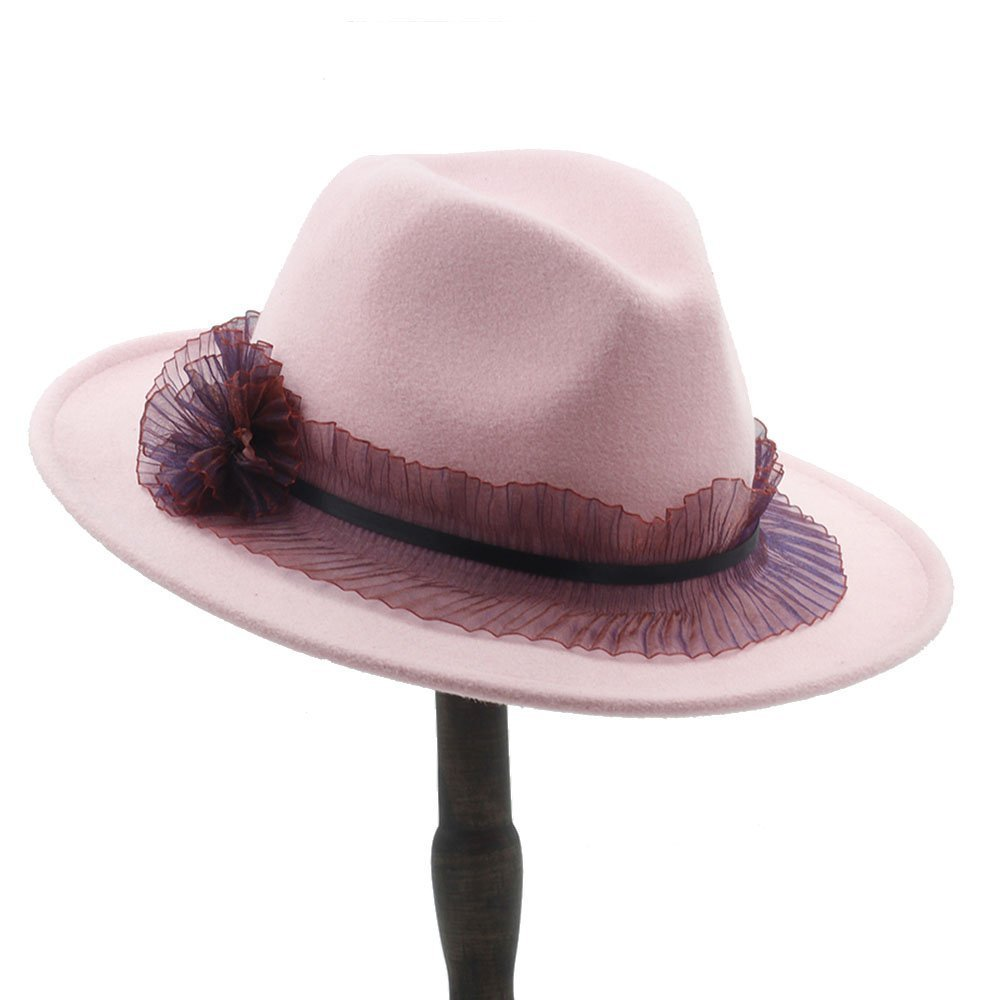 Ruiyue Ladies Pink Wool feodra hat Autumn Winter Jazz Hat with lace for Women
