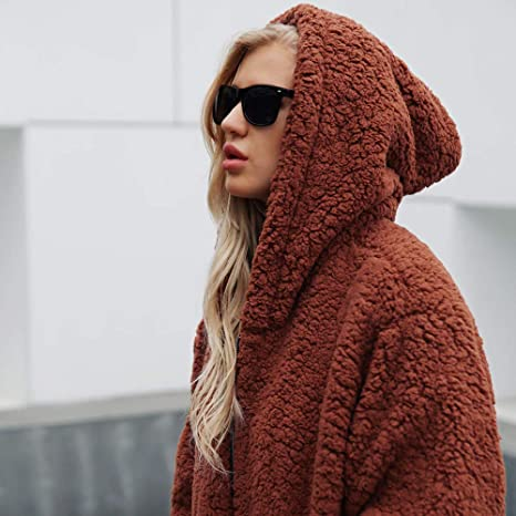 Amazon.com : Clearance! HOSOME Women Parka Coat Warm Artificial Wool Coat Hooded Zipper Sweatshirt Winter Outerwear top : Grocery & Gourmet Food