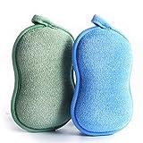 BabaMate Natural Bamboo Baby Bath Sponge - 2 Pack - Ultra Soft & Absorbent Sponge For Baby's Sensitive Skin, Biodegradable, Hypoallergenic - Blue Green