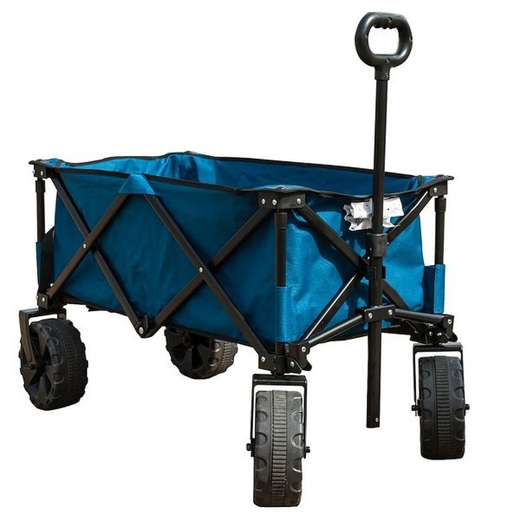 TimberRidge Blue Stainless Steel Folding Camping Wagon/Cart - Its Telescoping Handle And Swivel Front Wheels Provide Easy Movement Control