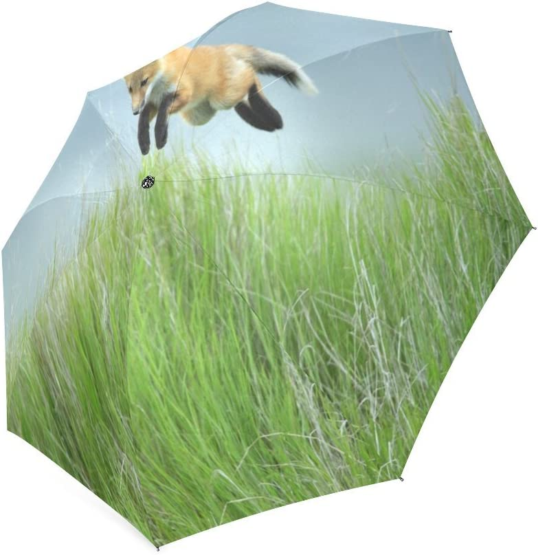 Custom Cute Red Foxes Compact Travel Windproof Rainproof Foldable Umbrella