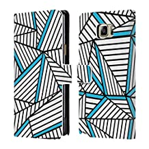 Official Project M White Electric Abstract Lines Two Tone Leather Book Wallet Case Cover For Samsung Galaxy Note5 / Note 5