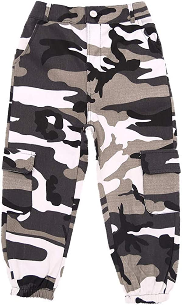 AMIYAN Kids Street Dance Costume Camouflage Pants Street Hip Hop Overalls Mixed Color Camouflage Sweatpants