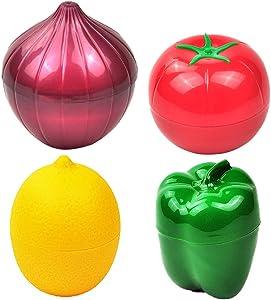 Apofly Food Saver Fruit Vegetable Storage Containers Onion Pepper Lemon Tomato Shaped Reusable Plastic Refrigerator Box Fresh Storage Bowls 4pcs