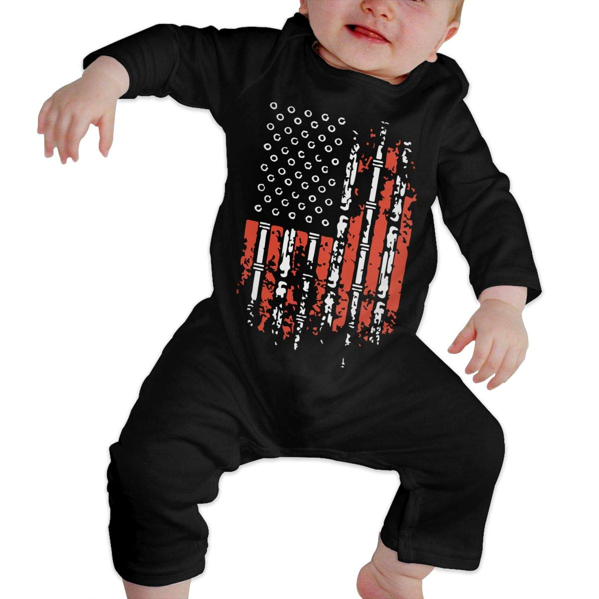 A1BY-5US Infant Baby Boys Girls Cotton Long Sleeve Plumbers American Flag Romper Bodysuit One-Piece Romper Clothes