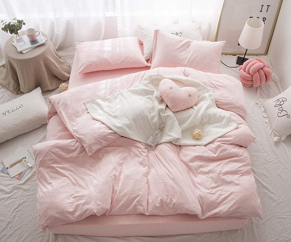 Ksainiy Nordic Bedroom Pink Girl Quilt Cover Cotton Four-Piece Cotton Japanese Nude Sleep Double Quilt Cover Bed Simple Color Double Quilt Bed Linen Household Items (Size : 200cm) by Ksainiy