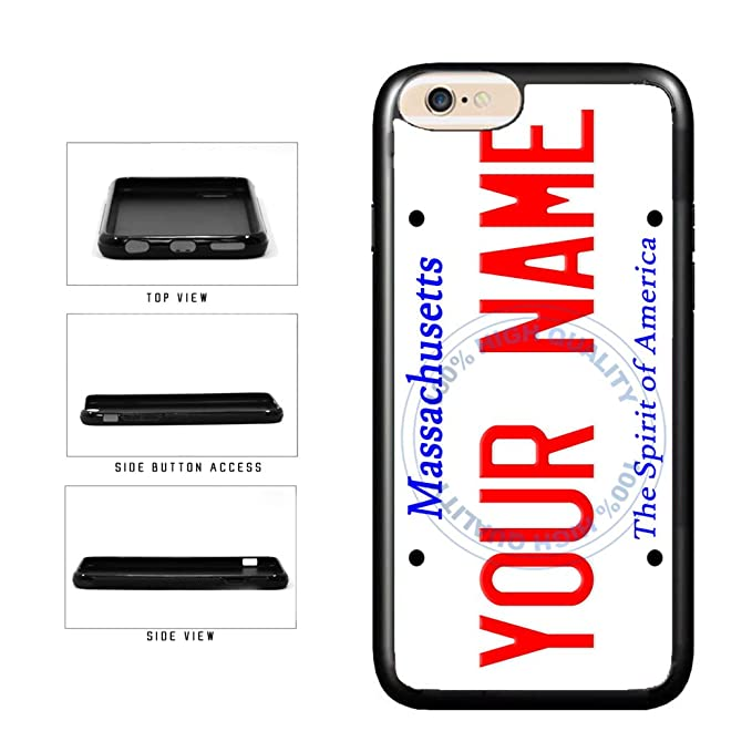 BleuReign(TM) Personalized Custom Name Massachusetts State License Plate  TPU Rubber Silicone Phone Case Back Cover for Apple iPhone 8 Plus and  iPhone