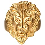 gold lion head ring - Men's Vintage 316L Stainless Steel Gold Lion Head Rings Gold Heavy Metal Rock Punk Style Gothic Biker Ring Size 10