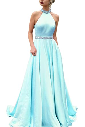 Womens A-Line Long Halter Satin Evening Prom Dress Formal Gown with Beaded Belt Aqua