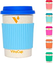 VitaCup Light Weight Coffee Tea Mug with Silicone Lid   Takeaway To Go Travel   Bamboo Fiber   Reusable Environmentally Eco Friendly Portable Dishwasher Safe  12 oz Cup