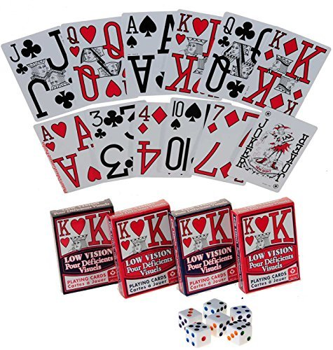 Low Vision Playing Cards _ Bundle of 4 Decks _ Bonus six white dice with colored dots ()