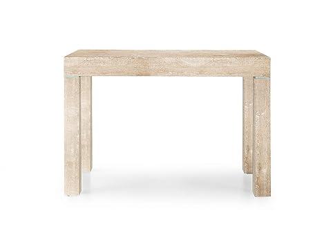 Legno Naturale Chiaro : Eglemtek tavolo consolle allungabile legno nobilitato noce naturale