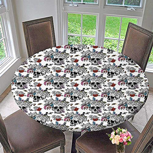 Chateau Easy-Care Cloth Tablecloth Sugar Skull with Rose Bouquet and Bees Print for Home, Party, Wedding 55
