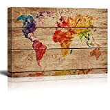 wall26 Canvas Prints Wall Art - Abstract Colorful World Map on Vintage Wood Background - 24'' x 36''