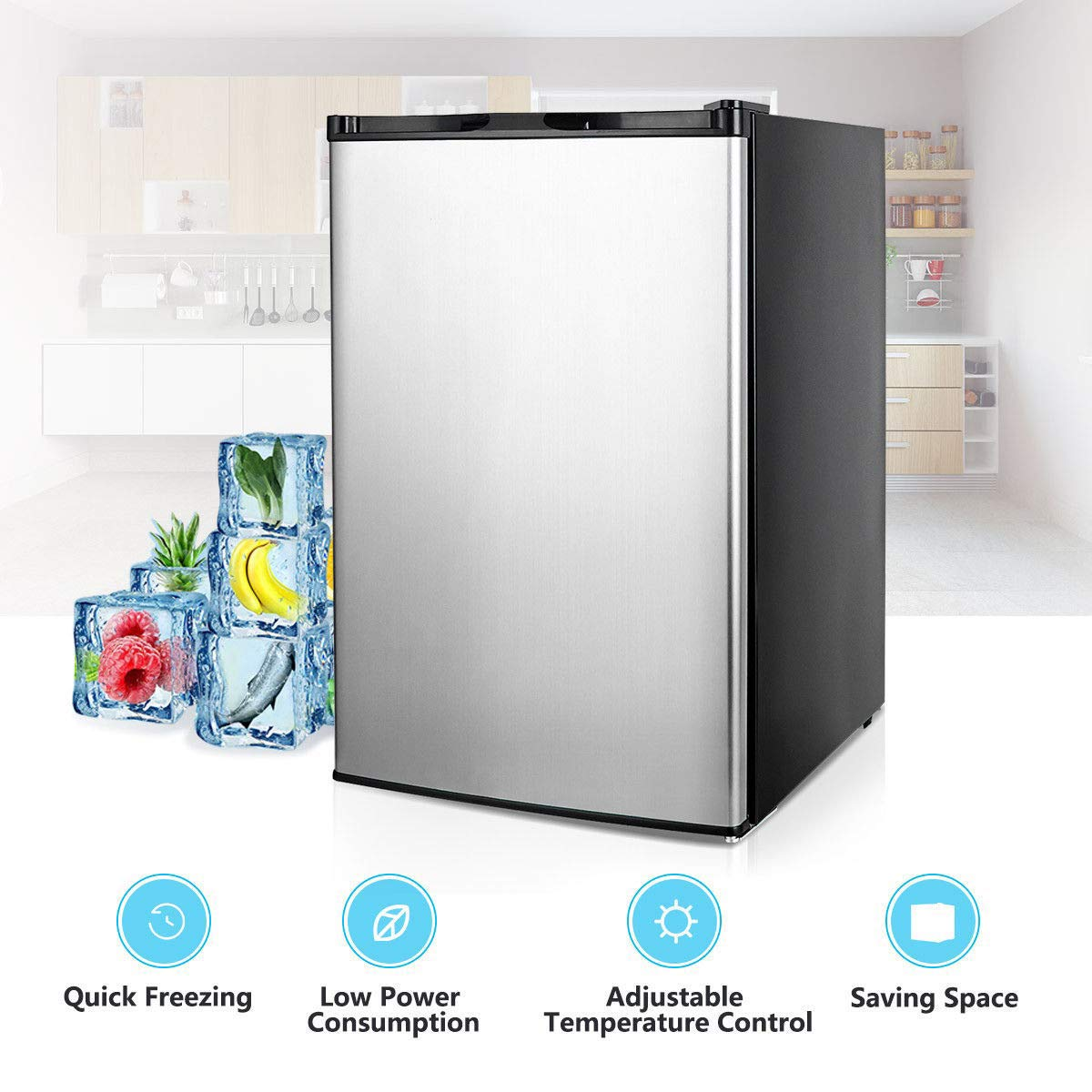 COSTWAY Compact Single Door Upright Freezer - Mini Size with Stainless Steel Door - 3.0 CU FT Capacity - Adjustable by COSTWAY (Image #4)