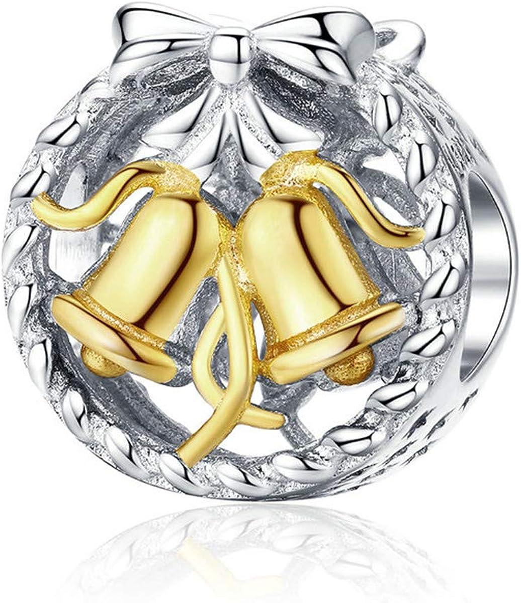 Cute Silver Tone Jingle Bell Heart Key Love Euro Dangle Slide Charm fit Bracelet