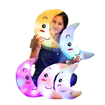 JHF Fantasy Cute Glowing LED Colorful Night Light Child Soft Doll Plush Toy Female Girls Kids Baby Gift Moon Luminous (Blue): Toys & Games