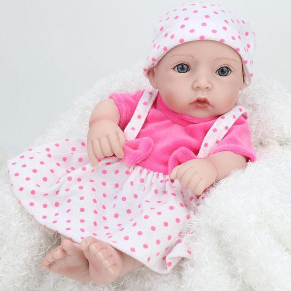 SHTWAD Kind Simulation Reborn Babypuppe Nette Realistische Auge Geöffnet Bad Appease Spielzeug 28cm