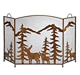 Iron Fireplace Screen 3 Folding Panel Protector with Silhouettes of Deer Pine Trees & Mountain Tops in Bronze Finish Ideal Winter Home Décor For Sale