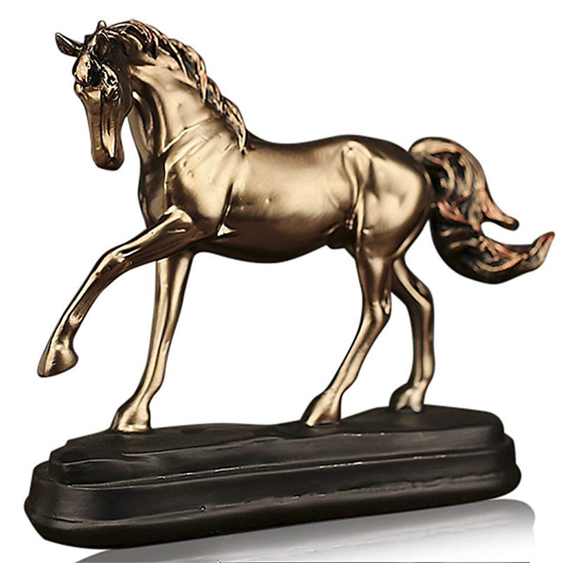 Moderne Harz Skulptur Skulptur Skulptur Artwork Home Dekoration Goldenes Pferd Treten - Kreative Figuren Desktop Ornamente Statue Auto Wohnzimmer Cafe Bar Decor Kinder Geschenke bd9319