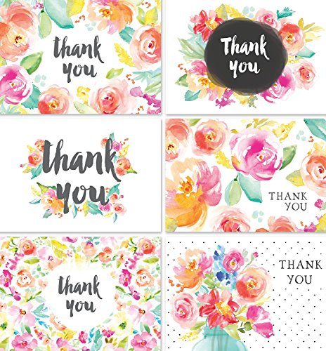 Thank You Cards Bulk Set | 36 Floral Thank You Notes with Envelopes | Blank Inside | Perfect for Baby Showers, Weddings, Bridal Showers, Women, and Business | By Angie Makes by Angie Makes