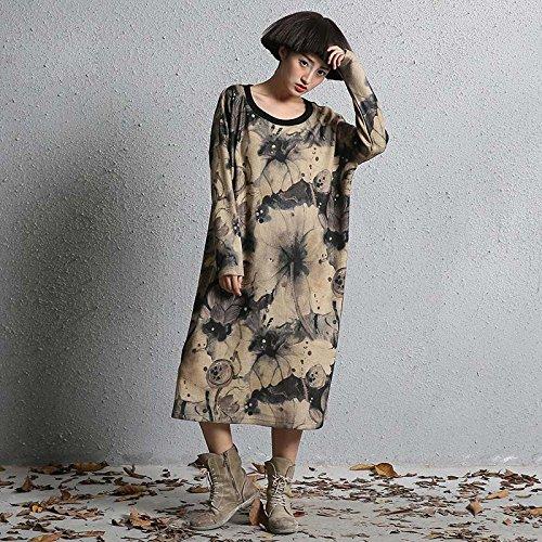 F Khaki GAOXU Hiver 2017 Nouvelle Grande Robe Combinaison Taille Art Floral Le t - Shirt.