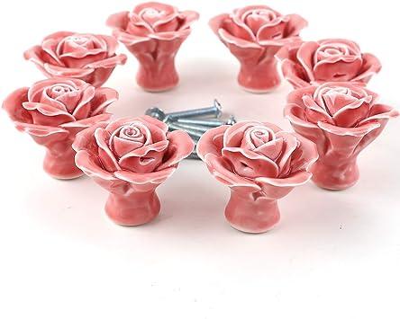 8tlg Weiß//Rosa Rose Blumen Design Porzellan Möbelknopf Knöpfe Möbelgriffe Knauf