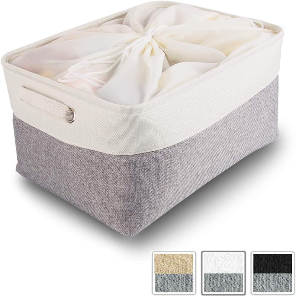 Mangata Jumbo Fabric Storage Boxes, Large Canvas Storage Basket with Handles for Shelves, Clothes, Toys (Foldable, Extra Large, Grey White)