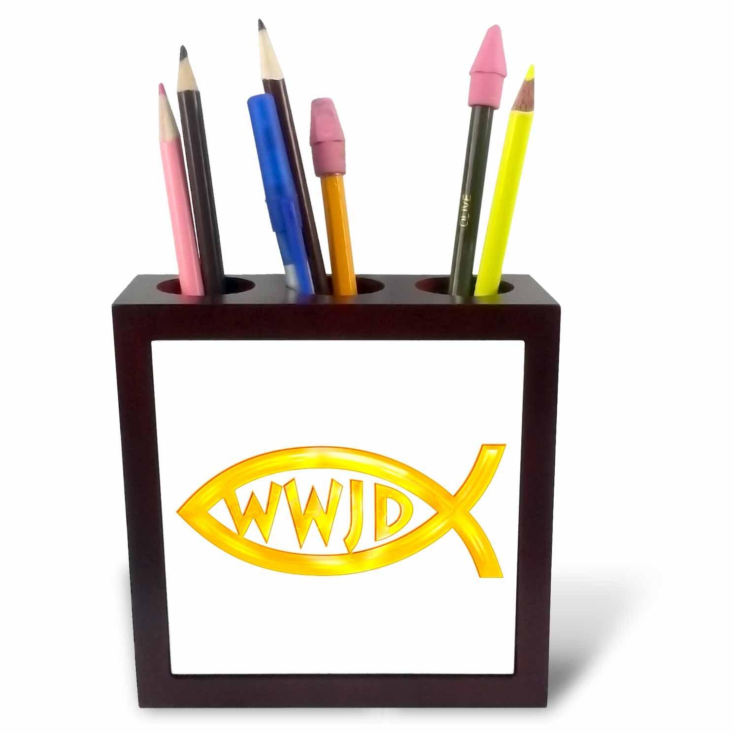 3dRose ph_41767_1 Christian Fish Symbol-WWJD 'Gold' Tile Pen Holder, 5-Inch