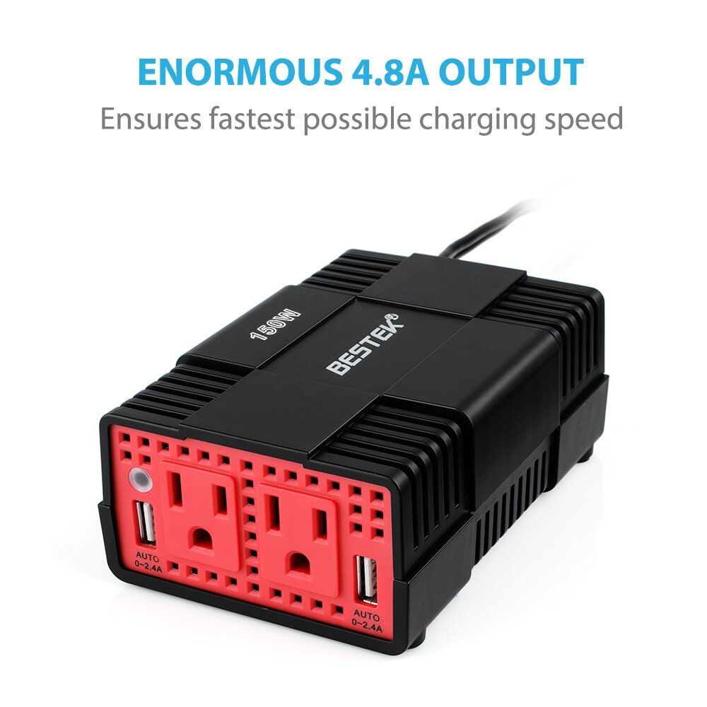 No Noise Bestek 150w Silent Power Inverter Dual 110v Car Fuse Box Ac Outlets And 48a Smart Usb Charging Ports Electronics