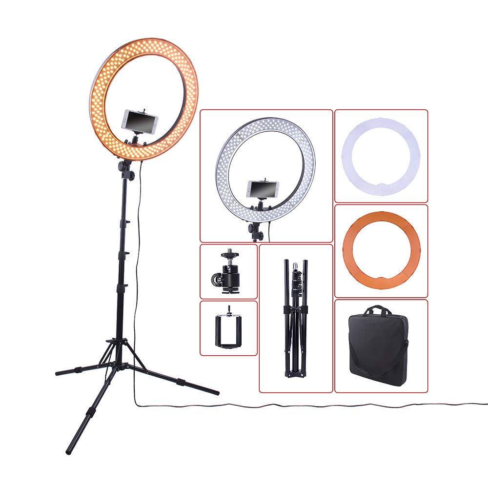 ILYO Dimmable LED Ring Light, 240 LED Photography Light 5500K dimmable Shooting Tool with Tripod for YouTube Video Recording, Camera Shooting, Makeup Live