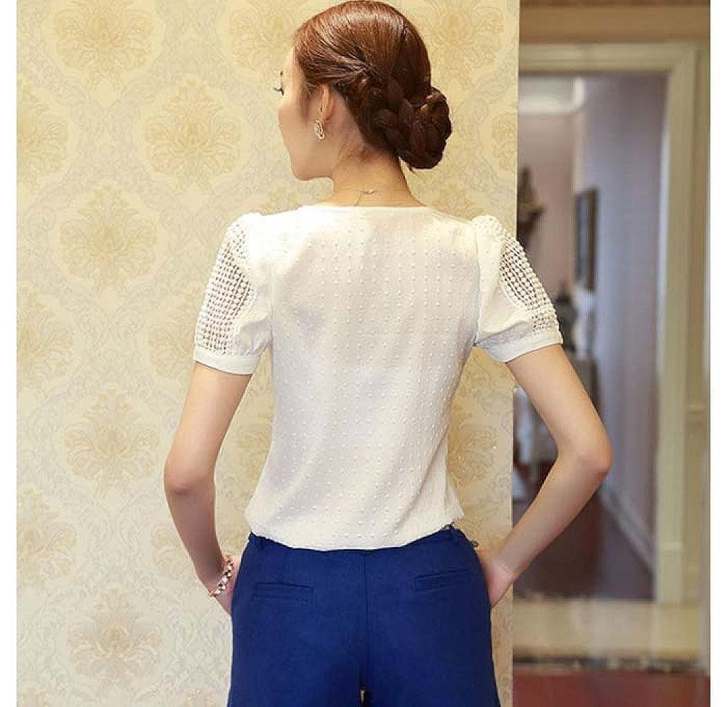 Paolian Femmes Printemps Creux Shirt Manches Courtes Chemisier en Mousseline de Soie Tops