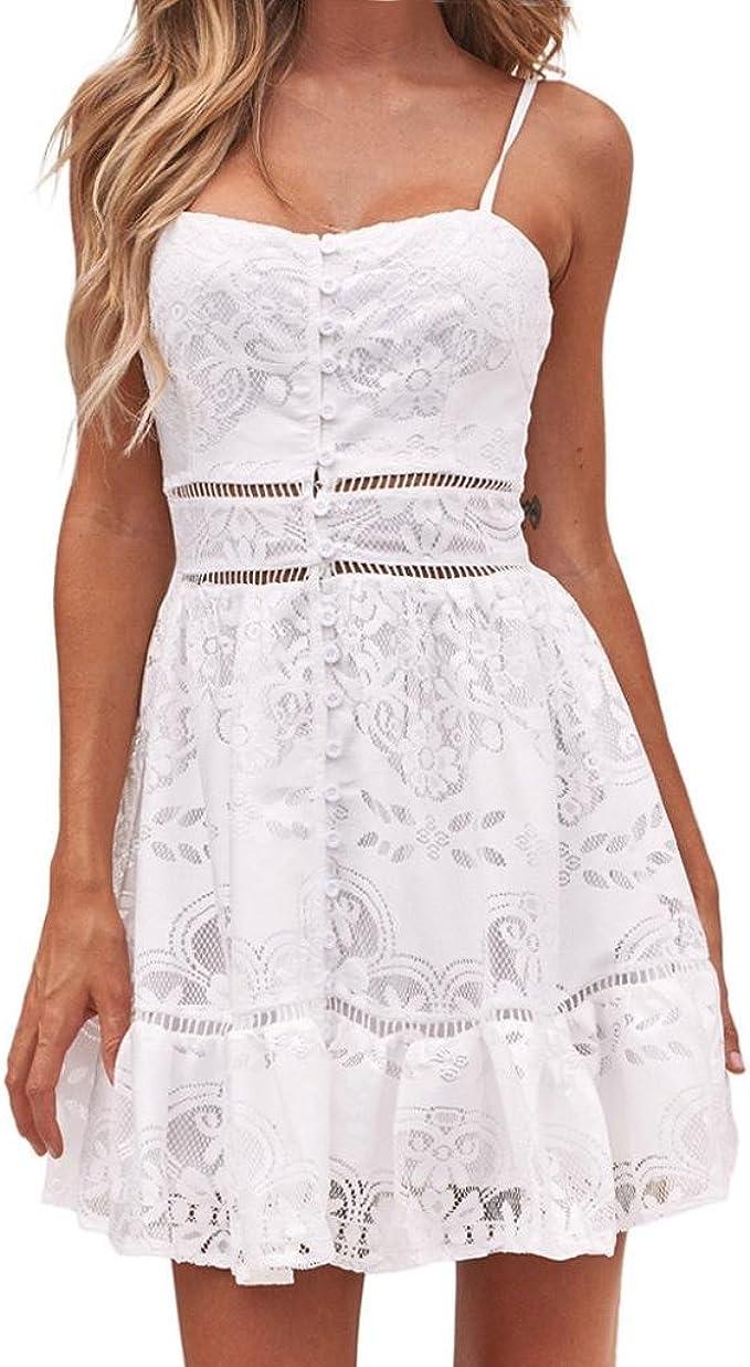 Ansenesna Kleid Damen Sommer Kurz Spitze Elegant Abendkleid