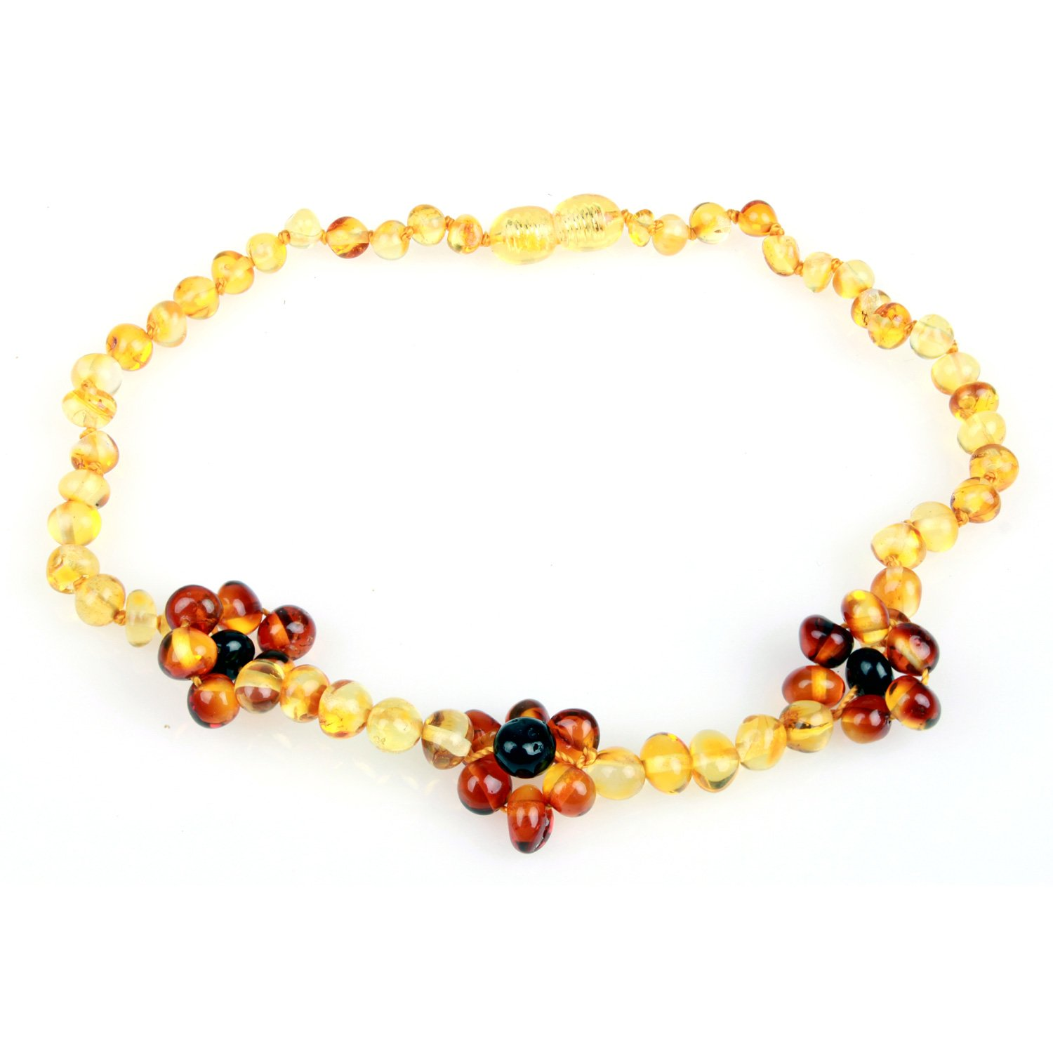 Baltic Amber Teething Necklace - Flower (Unisex, Honey & Cognac Color, 12.5 inches), Handcrafted, 100% USA Lab-Tested Authentic Baltic Amber - All Natural, Soothing Teething Pain Relief