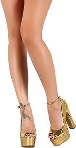 ee2cbe29b436 Peep Toe Platform Chunky High Heel Patent Sandal Momento2. Liliana Metallic  Mirror Peep Toe ...