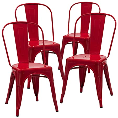 Duhome 4 PCS Stackable Metal Dining Chair Restaurant Cafe Kitchen Indoor Outdoor NO Assembly Require Red