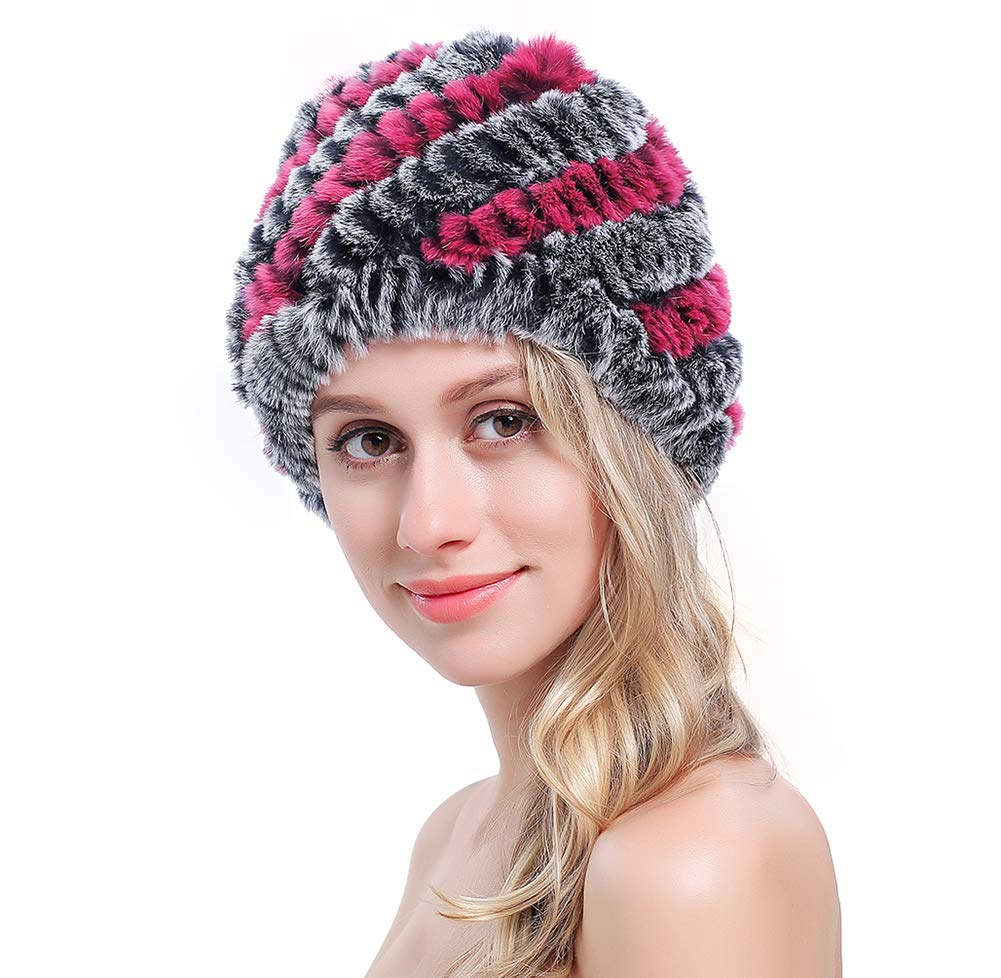 MEEFUR Women's Real Genuine Real rex Rabbit Fur Hats Hand-Woven Knitted Beanies Multicolored Winter Rosegrey