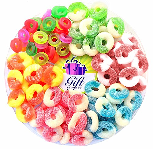 Gift Universe Gummi Rings Candy Gift Tray with Albanese's and Ferrara Candy's Best Seller Fruit Flavored Gummi Ring 6 Section Variety Pack of Candies, 2.5 Lbs (Gummy Sour Peach)