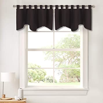 PONY DANCE Window Valance Curtains - Home Decor Valances Bedroom Thermal  Insulated Tab Top Scalloped Curtain Tier Swags and Valances for Kitchen ...