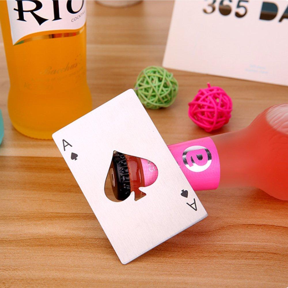 """Poker en Acier Inoxydable Hihamer Ouvre Bouteille D/écapsuleur en Forme de Carte de Poker /""""as de Pique/"""""""