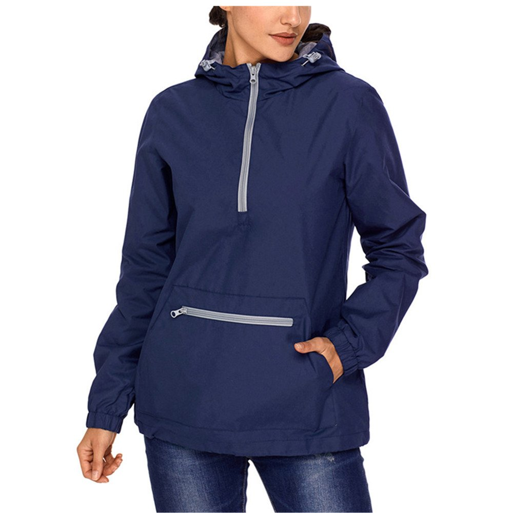 Lrud Women's Raincoat Active Outdoor Waterproof Rain Jacket Hooded Windbreaker Navy-Blue L