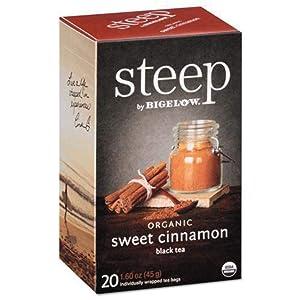 steep Organic Sweet Cinnamon Black Tea 20 Count Box (1 Box), Certified Organic, Gluten-Free, Kosher Tea in Foil-Wrapped Bags