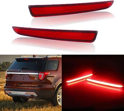 LED Rear Side Marker Bumper Reflector Stop Brake Light For Ford Mustang 2015-up