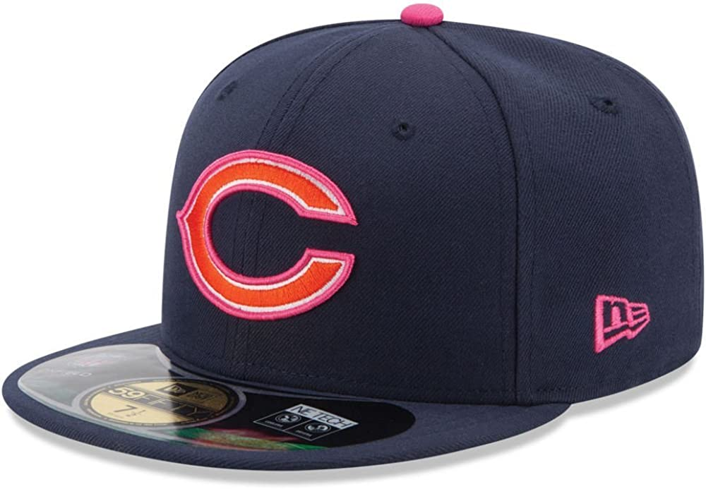 New Era 59Fifty Hat Chicago Bears Breast Cancer Awareness Navy Blue Pink Cap