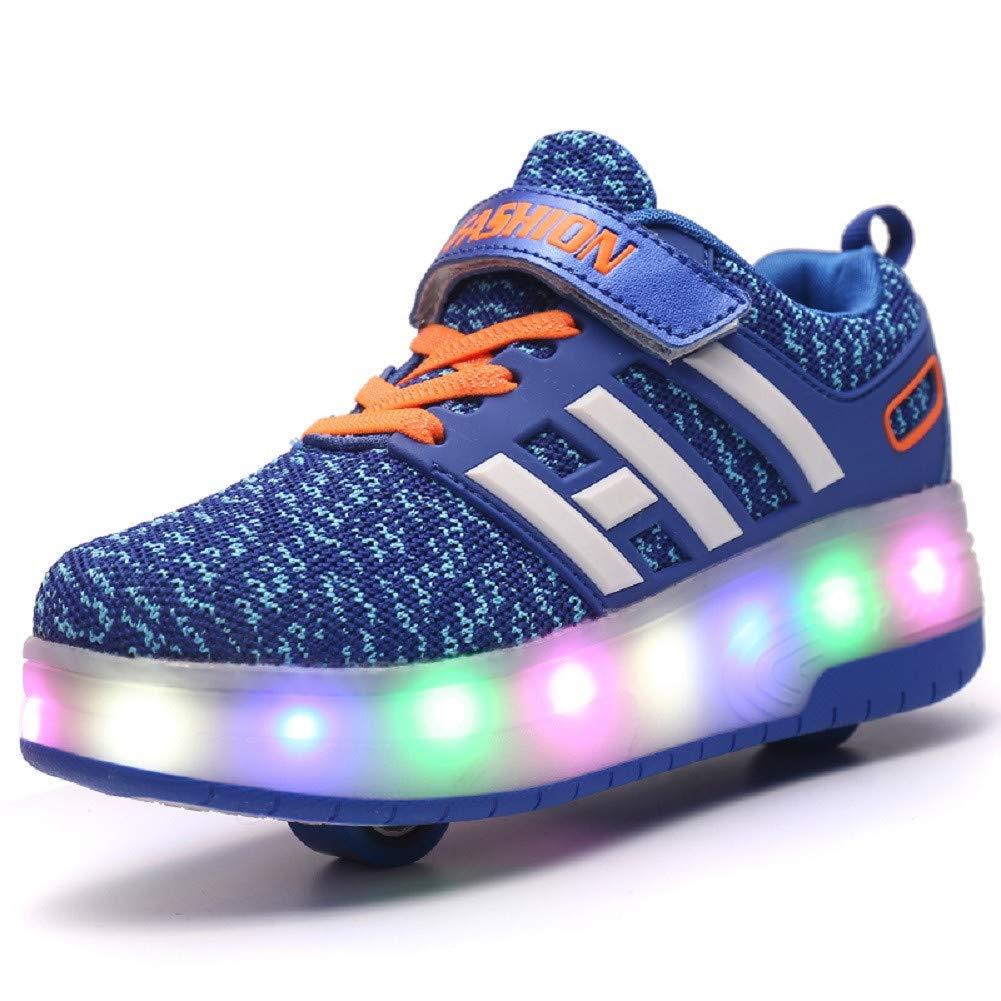 Blue yue Unisex Enfants Chaussures à Skates avec LED Clignotante Roues Doubles Bouton Poussoir Ajustable Patins à roulettes Multisports Outdoor Sneakers pour Garçons Filles DJ028